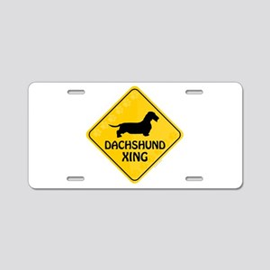 Dachshund Xing Aluminum License Plate