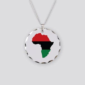 Red, Black and Green Africa Flag Necklace Circle C