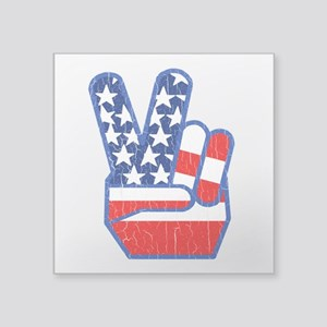 70s USA Flag Peace Hand Sticker