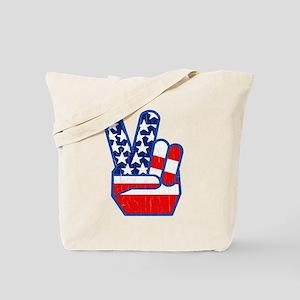 70s USA Flag Peace Hand Tote Bag