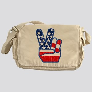 70s USA Flag Peace Hand Messenger Bag