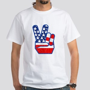 70s USA Flag Peace Hand T-Shirt