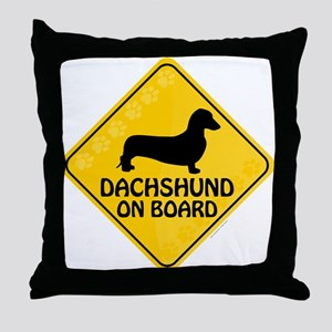 Dachshund On Board Throw Pillow