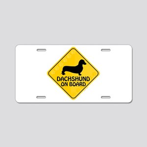 Dachshund On Board Aluminum License Plate