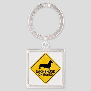 Dachshund On Board Square Keychain