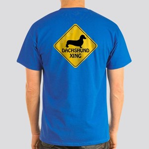 Dachshund Xing (2-sided) Dark T-Shirt
