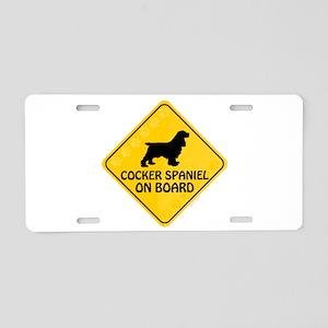 Cocker Spaniel On Board Aluminum License Plate
