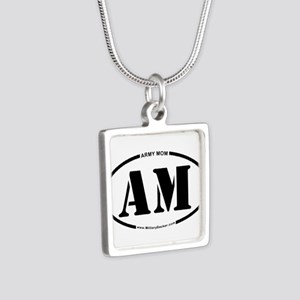 Army Mom (Oval) Silver Square Necklace