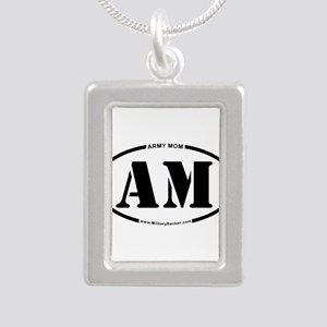 Army Mom (Oval) Silver Portrait Necklace