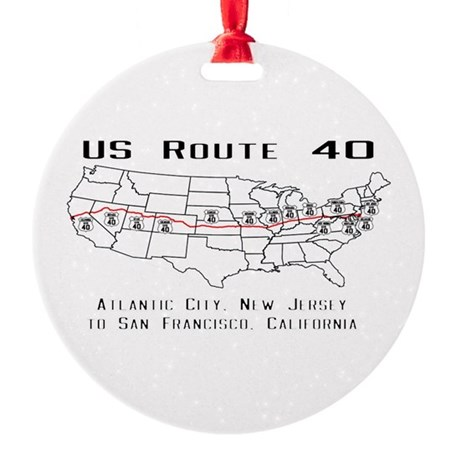 US Route 40 -Map Ornament by USRoute40