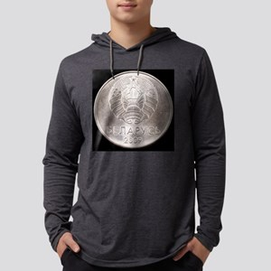 Belorussian one ruble coin on bl Mens Hooded Shirt