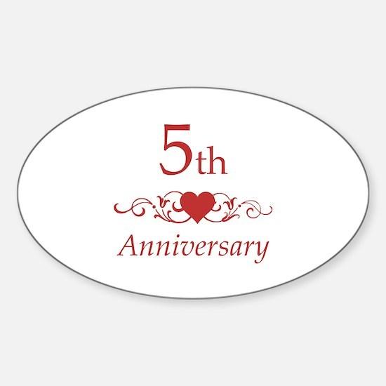 5th Wedding Anniversary Sticker (Oval)