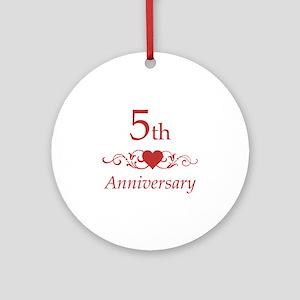 5th Wedding Anniversary Ornament (Round)