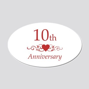 10th Wedding Anniversary 20x12 Oval Wall Decal