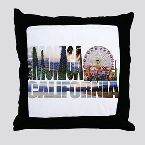 Santa Monica Logo pier beach flora Throw Pillow