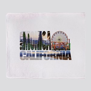 Santa Monica Logo pier beach flora Throw Blanket