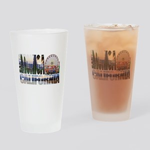 Santa Monica Logo pier beach flora Drinking Glass