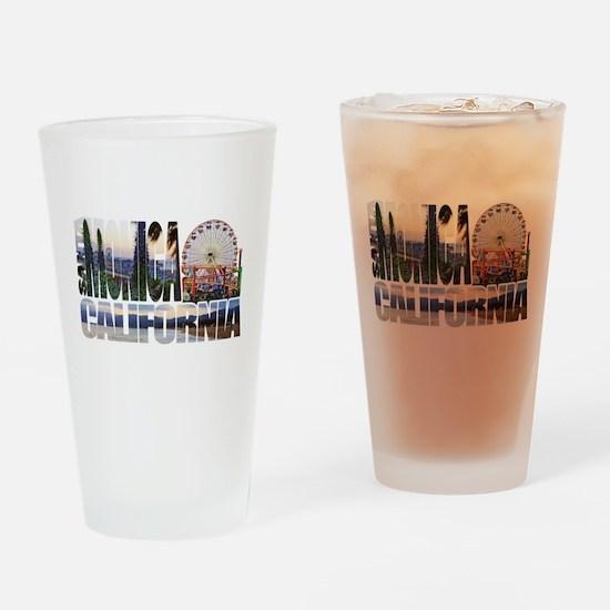 Santa Monica Logo pier beach flora Drinking Glass
