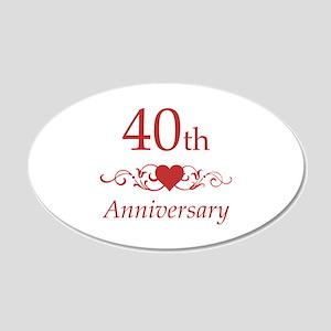 40th Wedding Anniversary 20x12 Oval Wall Decal