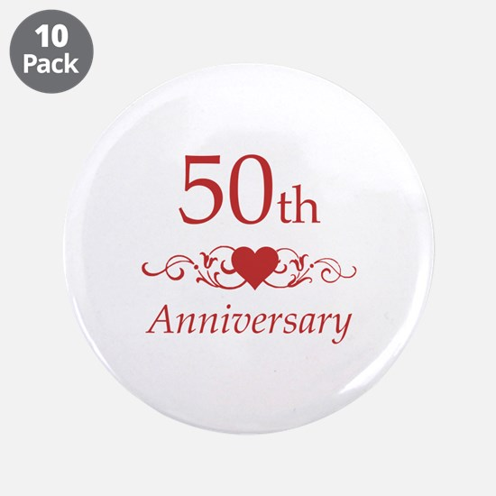 """50th Wedding Anniversary 3.5"""" Button (10 pack)"""