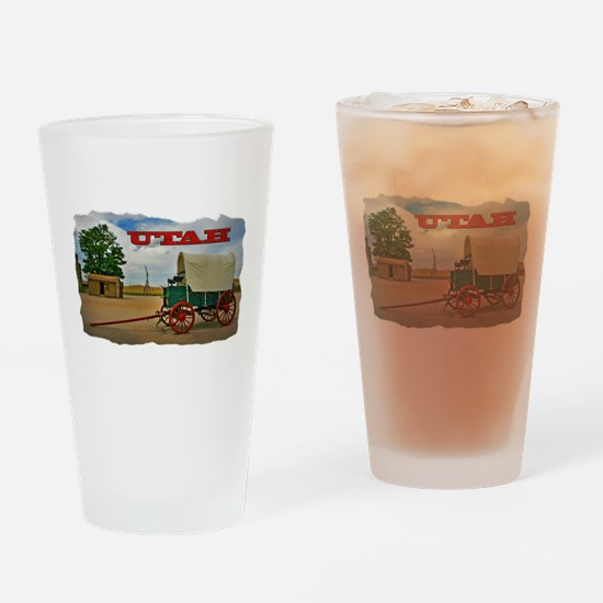 Utah covered wagon Drinking Glass