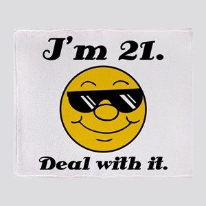 21st Birthday Deal With It Throw Blanket
