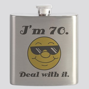 70th Birthday Deal With It Flask