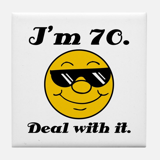 70th Birthday Deal With It Tile Coaster