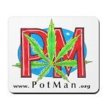 PotMan Marijuana leaf Logo A Mousepad