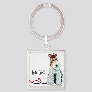 Fox Terrier Walk Square Keychain