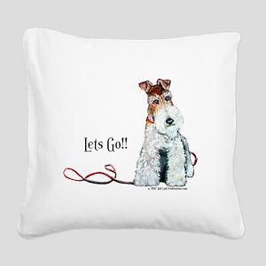 Fox Terrier Walk Square Canvas Pillow