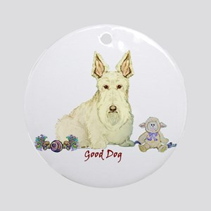 """""""Good Dog"""" Wheaten Scottie Ornament (Round)"""