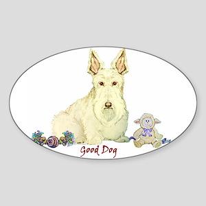 """Good Dog"" Wheaten Scottie Oval Sticker"