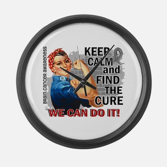Rosie Keep Calm Brain Cancer Large Wall Clock
