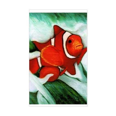 Clown fish rectangle stickers by vernsart for Clown fish size