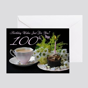 100th Birthday Greeting Card With Tea And Cake