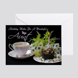 Aunt Birthday Card With Tea Flowers And Cake