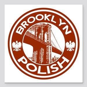 "Brooklyn New York Polish Square Car Magnet 3"" x 3"""