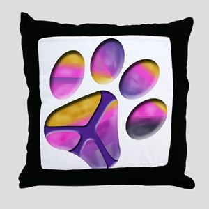 Peaceful Paw Print Throw Pillow