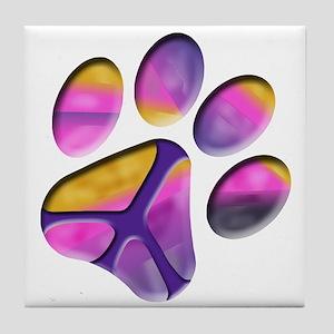 Peaceful Paw Print Tile Coaster