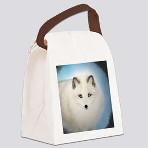 Arctic Fox with Blue Background Canvas Lunch Bag