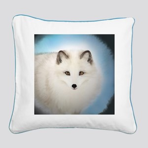 Arctic Fox with Blue Background Square Canvas Pill