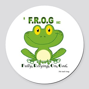 F.R.O.G. Fully, Relying,On,God Round Car Magnet