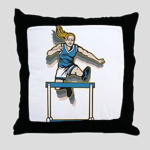 Women's Hurdles Throw Pillow