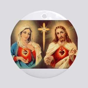 sacred-hearts-of-jesus-and-mary Ornament (Round)