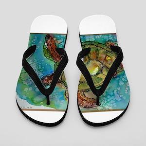 Sea turtle! Wildlife art! Flip Flops