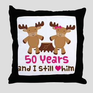50th Anniversary Moose Throw Pillow