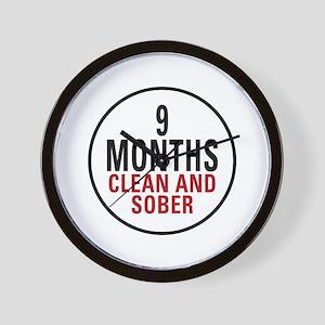 9 Months Clean & Sober Wall Clock