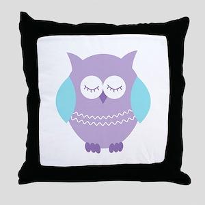 Sleepy Purple Owl Throw Pillow