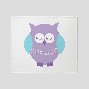 Sleepy Purple Owl Throw Blanket
